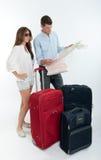 Couple checking destination map Stock Photos