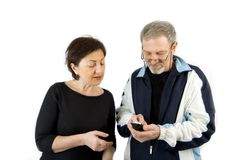 Couple checking the Text Message on the Phone Royalty Free Stock Image
