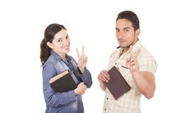 Couple of cheerful happy attractive students Royalty Free Stock Photography