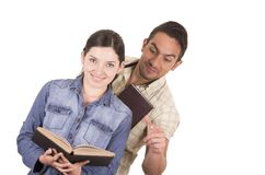 Couple of cheerful happy attractive students Stock Photo