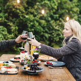 Couple Cheers Love Wine Concept Stock Images