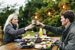 Couple Cheers Love Wine Concept Royalty Free Stock Photos