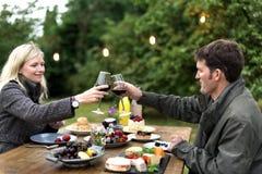 Couple Cheers Love Wine Concept Stock Photo