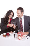 Couple cheers steak and fruit Stock Photo