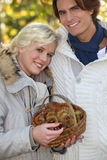 Couple chestnut picking. Royalty Free Stock Images