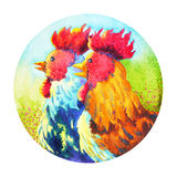 Couple chicken chinese new year flower wreath celebration watercolor painting Stock Photography