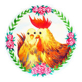 Couple chicken chinese new year flower wreath celebration watercolor painting Royalty Free Stock Photo
