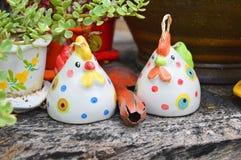 Couple Chicken sculpture. Royalty Free Stock Photos