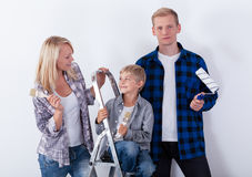 Couple with child during home renovation Royalty Free Stock Photo