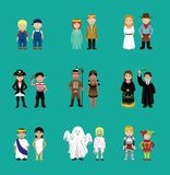 Couple Children Costume Cartoon Characters vector illustration