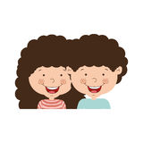 Couple of children half body and curly hair Stock Photography