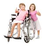 Couple of children handicap problems solving royalty free stock photo