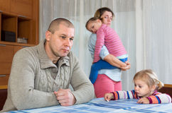 Couple with children having conflict Royalty Free Stock Images