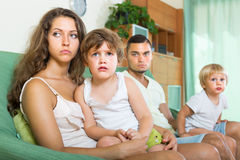 Couple with children having quarrel Stock Image
