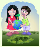 Couple children holding globe with small plant Stock Image