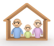 Couple children Home. Living with children Stock Images