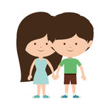 Couple of children taken from the hand and dark brown hair. Vector illustration Stock Images