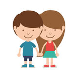 Couple of children taken from the hand. Vector illustration Royalty Free Stock Photos