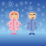 Couple of children in winter jackets Royalty Free Stock Photos