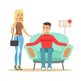 Couple Choosing Armchair For Living Room, Smiling Shopper In Furniture Shop Shopping For House Decor Elements. Cartoon Characters Looking For Home Interior Royalty Free Stock Photography