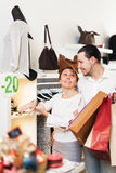 Couple choosing  bracelet at boutique Stock Photo