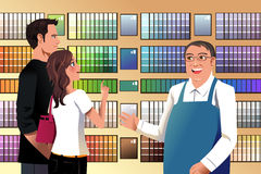 Couple choosing paint. A vector illustration of couple choosing paint in a hardware store Stock Photo
