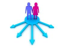 The couple choosing the path. Concept 3D illustration Stock Photos