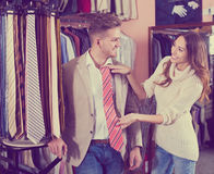 Couple choosing tie in store Stock Photography