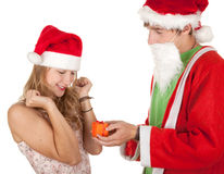 Couple in a Christmas hats and clothes Stock Photo