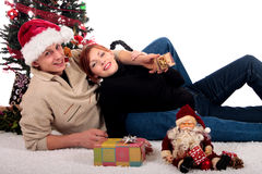 Couple Christmas home Royalty Free Stock Photos