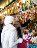 Couple at Christmas market Stock Photo