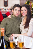 Couple in Christmas night. Young happy couple in Christmas night royalty free stock images