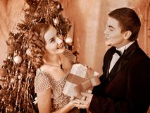 Couple on Christmas party.  Black and white retro. Royalty Free Stock Image