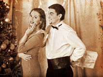 Couple on Christmas party.  Black and white retro Stock Photo