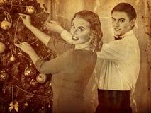 Couple on Christmas party. Black and white retro portrait. Royalty Free Stock Photo
