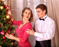 Couple on Christmas party. Stock Image