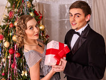 Couple on Christmas party. Royalty Free Stock Images