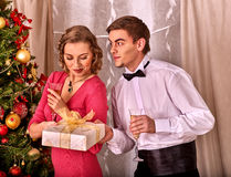 Couple on Christmas party. Stock Images
