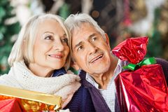Couple With Christmas Presents In Store Stock Images