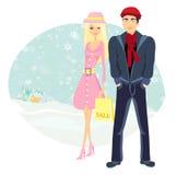 Couple on Christmas shopping Royalty Free Stock Photo