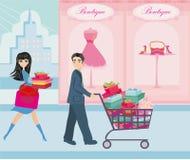 Couple on Christmas shopping Stock Photo