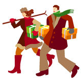 Couple_Christmas_spending. Stylised vector illustration of a purchasing couple Stock Image