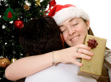 Couple at christmas time Stock Images