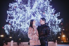 Couple and The Christmas tree Royalty Free Stock Photography