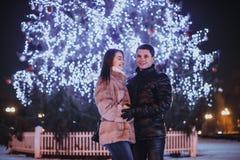 Couple and The Christmas tree Stock Photo
