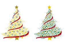 Couple of christmas trees made by stars Royalty Free Stock Image
