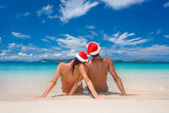 Couple christmas tropical beach Royalty Free Stock Photography