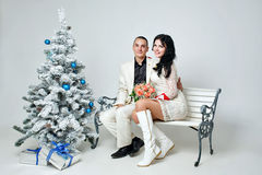 Couple and Christmas Royalty Free Stock Photos