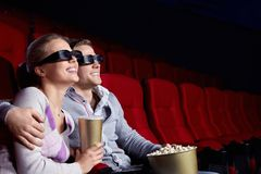 Couple in the cinema stock photos