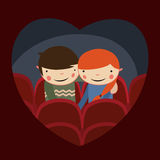 Couple cinema. Cute couple valentines date in cinema Royalty Free Stock Image